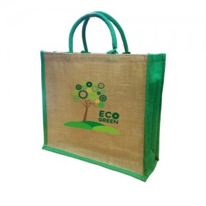 Solstice Jute Shopper - Green Gusset