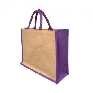 Solstice Jute Shopper - Purple Gusset